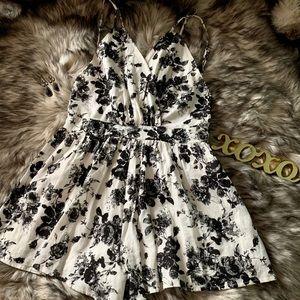 Audrey 3+1 Floral Black & White Romper